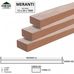 Home Store Meranti Wood Timber Smooth Planed Surfaced Four Sides (S4S) 12MM (T) x 24MM (W) x 1800MM (L)