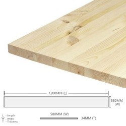 Home Store Pine Wood Timber Table Top Smooth Planed Eased Four Edges (E4E) 34MM (T) x 580MM (W) x 1200MM (L)