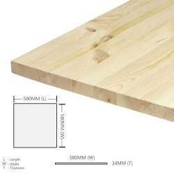 Home Store Pine Wood Timber Table Top Smooth Planed Eased Four Edges (E4E) 34MM (T) x 580MM (W) x 580MM (L)